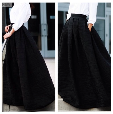 Black Ball Gown Maxi Skirt